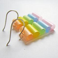 Pastel straw earrings!