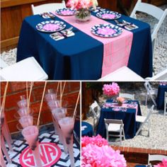 Pink and navy party....love the navy and pink table!