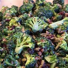 "Alyson's Broccoli Salad | ""All of the ingredients in this salad taste so good together! I use apple cider vinegar instead of white wine vinegar."""