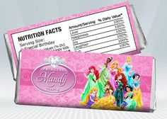 Disney Princess Candy Bar Wrappers by DigiPartyShoppe on Etsy, $4.00