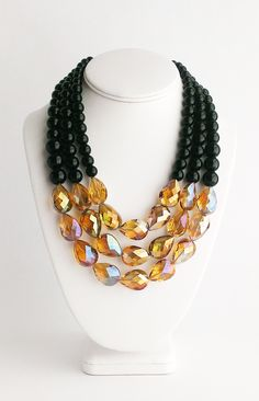 Black + Gold Glam Statement Necklace by Kluster Happy Jewelry
