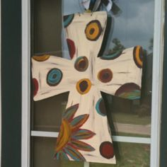 Just finished cutting/painting this wooden cross for my front door!