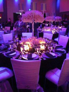 This arrangement  minus lampshades with the purple hydrangeas below