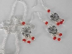 Necklace and Earrings Set Vined Heart With Red Swarovski Crystals JUST REDUCED!