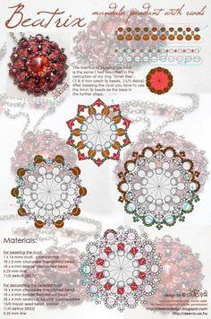 free bead weaving medallion pattern #pendant #medallion #rivoli #bezel