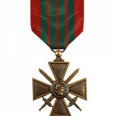The French Croix de Guerre - WWII (Cross of War) is a French Military award commonly bestowed upon foreign military forces. Created in 1915 it can either be awarded as a unit award or as an individual award for distinguished service for acts of heroism during combat with the enemy. In the United States military it is one of the hardest awards to verify.