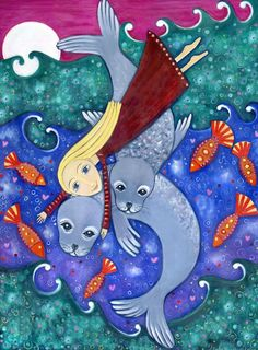Selkie Folklore | Art print Girl seals selkie whimsical folk style A4 size nursery ...