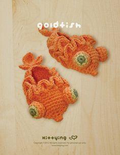 Goldfish Baby Booties Crochet PATTERN SYMBOL DIAGRAM by Kittying.com