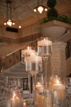 candle centerpieces    planning and coordinating by www.soireechicago.com    #Rookery #Chicago #wedding