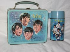 vintage 1965 aladdin the beatles  metal lunchbox and thermos.
