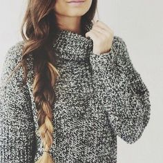 long braids + comfy sweaters