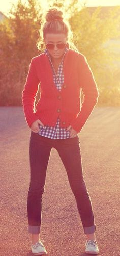 Red cardi, plaid shirt