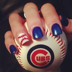 baseball design nails, chicago cubs baseball, basebal nail, nail designs, chicago cubs nails, baseball nails design, cute nails design, cubs baseball nails, chicago cubs nail art