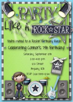Convite festa rock star