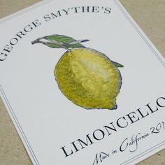 Custom Limoncello or Lemon Canning Labels by nancynikkodesign. , via Etsy.