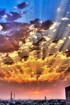 sky, color, heaven, sunset, sunris, cloud, place, light, sun rays
