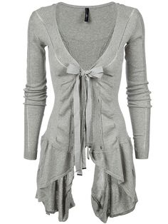 High - 'chapter' ribbed asymmetric hem cotton cardigan, front.. Would be cute with a white shirt under for an interview sweater, fashion, style, ruffl, cloth, tie, white shirts, closet, big bows