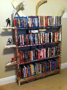 books, bookcases, shelves, hockey stick, sticks, hockeystick, boy rooms, hockey room, man caves
