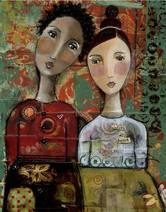 SISTERS IN HEART. Mixed media art. Patchwork collage painting. Soul. Inspired.