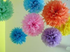 Set of 7 Flower Poms - Your Colors - Pom poms for wedding, bridal shower, birthday party, baby shower, nursery, college dorm, child / teen. $28.00, via Etsy.