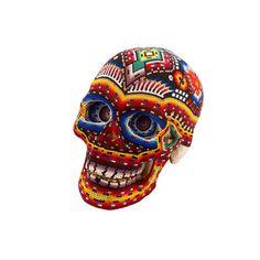 Huichol Indian art skull, large