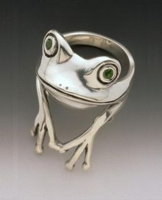fairies, cloth, frog finger, tree frogs, frog rings, trees, aunts, cute frogs, silver rings
