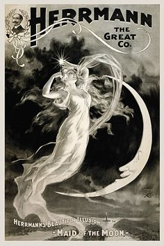 Herrmann the Great Maid of the Moon Illusionist Magician Vintage Magic Poster