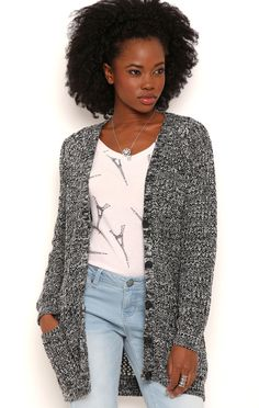 Deb Shops Long Sleeve Marled Knit Button Front Cardigan with Pockets $22.75