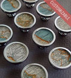 Vintage Custom Map Drawer Pull | Home Decor | Sherry Truitt