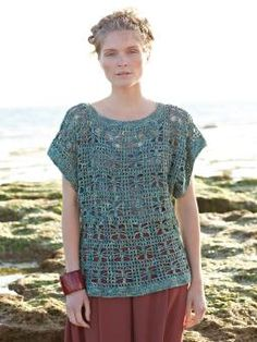"Trellis | openwork tee crochet pattern by Marie Wallin, using Rowan Silkystones (silk/linen blend). Sizes from 32 - 50"" bustlines."