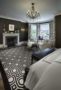 Black and white master bedroom in Montreal
