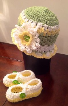 Crochet flower hat with matching shoes $25