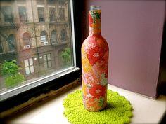 Decoupage Wine Bottle Vase via Etsy