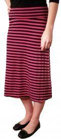 Striped Rayon Skirt - Berry/Black - $19 at DCM Apparel