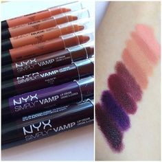 Nyx swatches of  Simply Vamp and Simply Nude Lip Creams