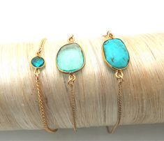Gulf Coast Bracelets. Sea Green Chalcedony, Turquoise and Topaz. Not wild about Turquise but the other two are beautiful