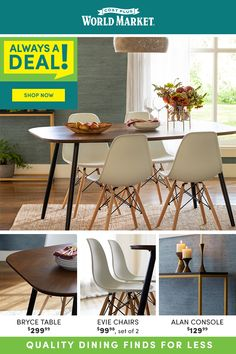 For home essentials that won't break the bank, check out Cost Plus World Market! Our Always A Deal products are value priced every day, making it easy for you to update your dining room on a budget!