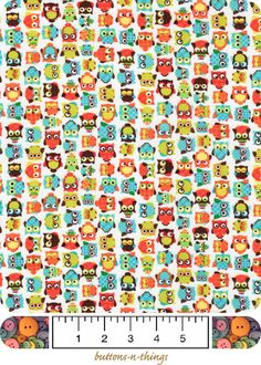 FABRIC BTY -Novelty Print- 100% Cotton -Little Owls of Many Colors #NoveltyPrint