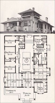 1918 Mission Style Plan - Stillwell. According to designer Stillwell, this plan is one of the best examples of True Mission Style.  Love the enclosed courtyard~patio. Notice all rooms are well-ventilated.  (They had no problem with mold back then)