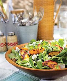 Grilled Peach Salad! dinner, goats, food, chees salad, recip, arugula, peaches, salads, goat cheese