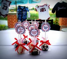 sports themed cake pops for boys baby shower