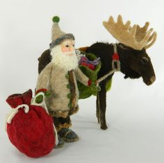 Needle Felted Wool and Alpaca Santa with Moose Dyed with Cochineal, Sweet Woodruff, Indigo and Goldenrod