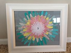 Teacher baby shower gift! Traced students hands on scrapbook paper and framed for her baby girl's nursery!