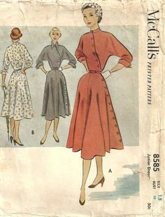 Vintage 1950s Sewing Pattern McCalls 8585 Diagonal Button Dress Size 15