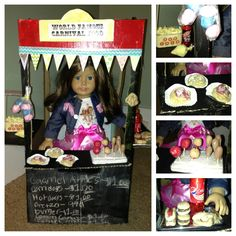 "American Girl Doll DIY- Carnival Food stand created by my kids. To make:  Stand-  box decorated w/ chalkboard paint, card stock & bunting.  Bunting- card stock & decorative tape. Signs- ""carnival"" font glued to painted card stock.  Play food- make salt dough, then paint to look real. Corn dogs & candy apple sticks are made with toothpicks and stuck in styrofoam trays.  Popcorn stand-plastic baby food container filled w/ crumpled styrofoam that is painted & glued. Lid glued to wood sticks"