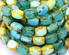 Picasso Czech beads MIX Turquoise green beige rustic by MayaHoney