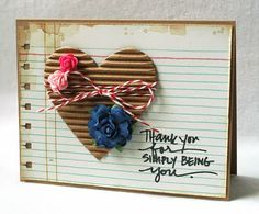 corrugated cardboard and baker's twine ♥ laura odonnel, baker twine, corrug cardboard, craft, paper, valentine cards, making cards, homemade cards, heart cards
