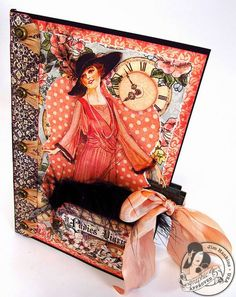 This A Ladies' Diary card is by @Jim Schachterle Schachterle Schachterle Hankins, the Gentleman Crafter and has so many stunning details! Gorgeous! #graphic45 #cards