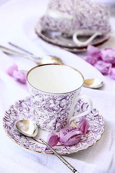 tea time, tea for two, tea sets, lilac tea, purpl tea, coffee cups, tea tables, tea cup, teacup