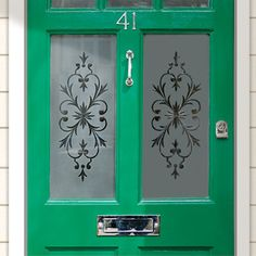 entry door with etched glass panels